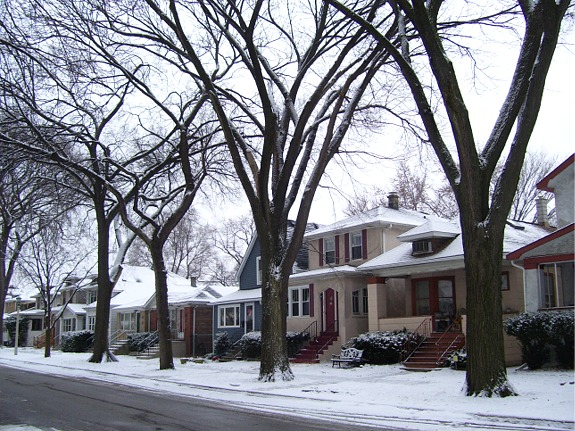 Our side of the street, January, 2009.