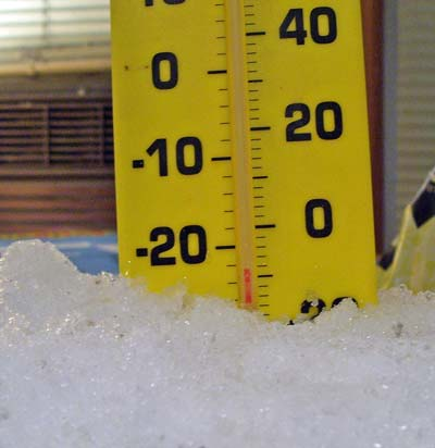 The thermometer read _ degrees Centigrade, _ degrees Fahrenheit.