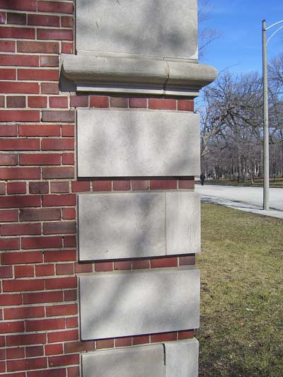 These blocks of limestone make the brick building stronger and more attractive.