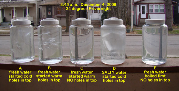 Water jar experiment after a hard freeze, December 4, 2009.